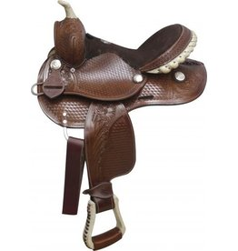 "Double T 10"", 12"" Saddle features rawhide covered stirrups, silver laced rawhide cantle and rawhide braided horn."