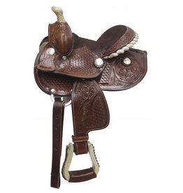 "Double T 7""Saddle features rawhide covered stirrups, silver laced rawhide cantle and rawhide braided horn."