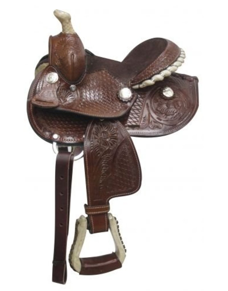 Double T Saddle features rawhide covered stirrups, silver laced rawhide cantle and rawhide braided horn.
