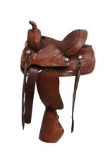 Double T  pony saddle with tapedero stirrups.