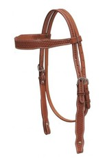 Showman ® Showman ® Argentina cow leather headstall with basket weave tooling.
