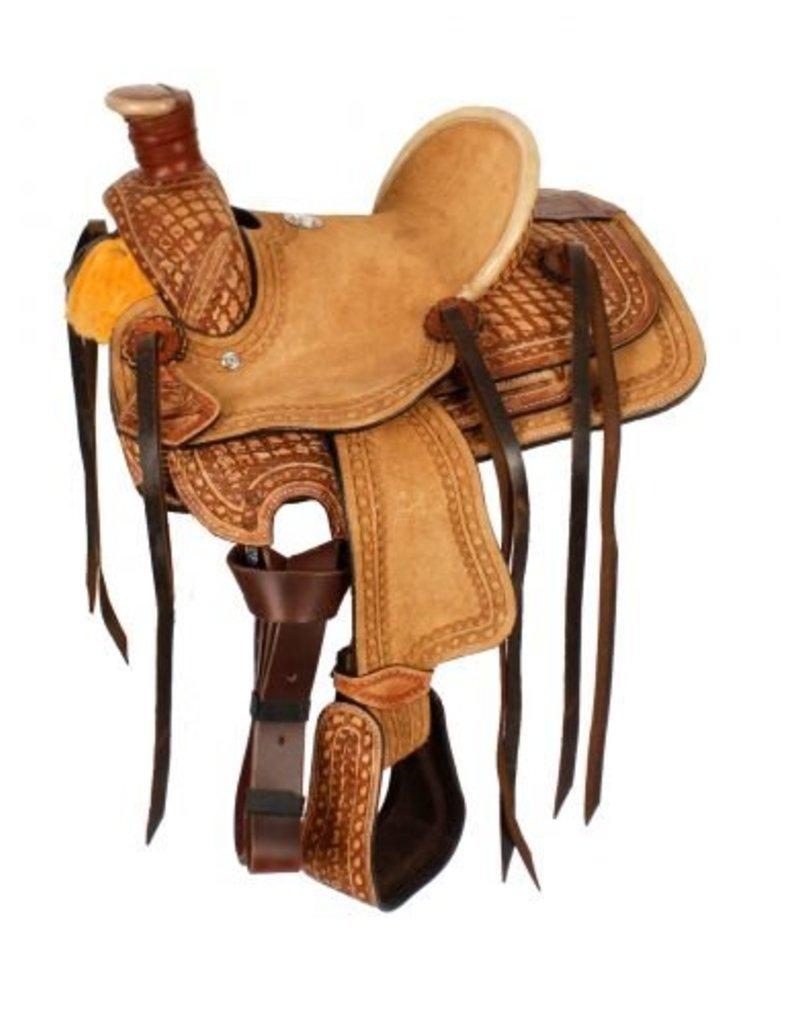 Double T Pony hard seat roper style saddle.