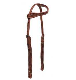 Showman ® Showman ® Argentina cow leather single ear headstall with basket weave tooling.