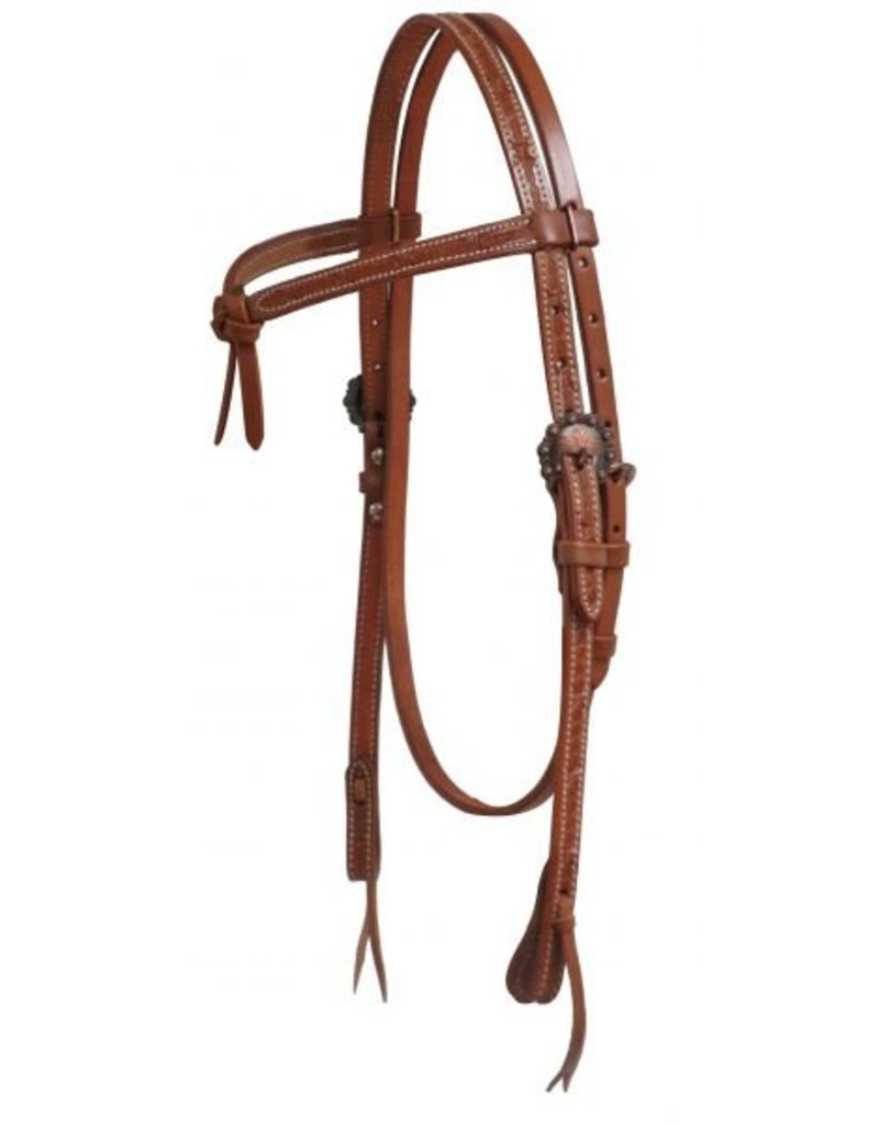 Showman ®  Showman ® Argentina cow leather futurity headstall with barbed wire tooling.
