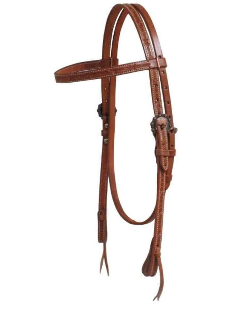 Showman ®  Showman ® Argentina cow leather headstall with barbed wire tooling.