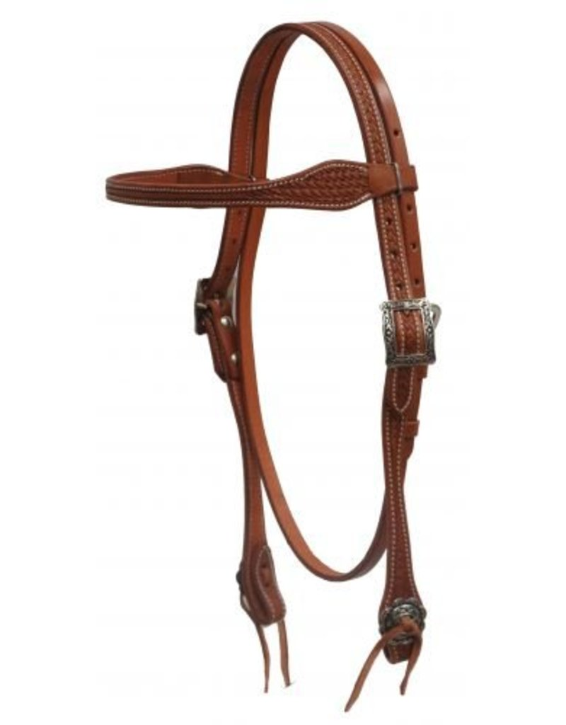 Showman ® Showman ® Argentina cow leather browband headstall with basket weave tooling.