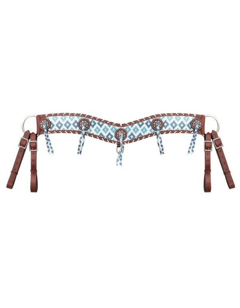"Showman ® Showman ® 4"" wide Brown and teal Navajo diamond print tripping collar."
