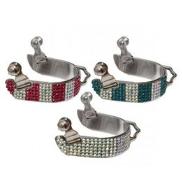 Showman ® Ladies size bling rhinestone bumper spurs.