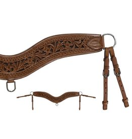 Showman ® Showman ® Floral tooled leather tripping collar