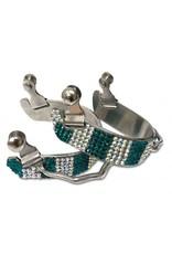 Showman ® Ladies size bling rhinestone bumper spurs.