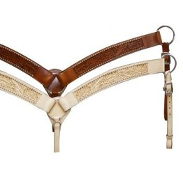Leather breastcollar has floral tooling accented with silver beads.