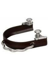 "Showman ® antique brown sidewinder bumper spurs with 3"" boot opening."