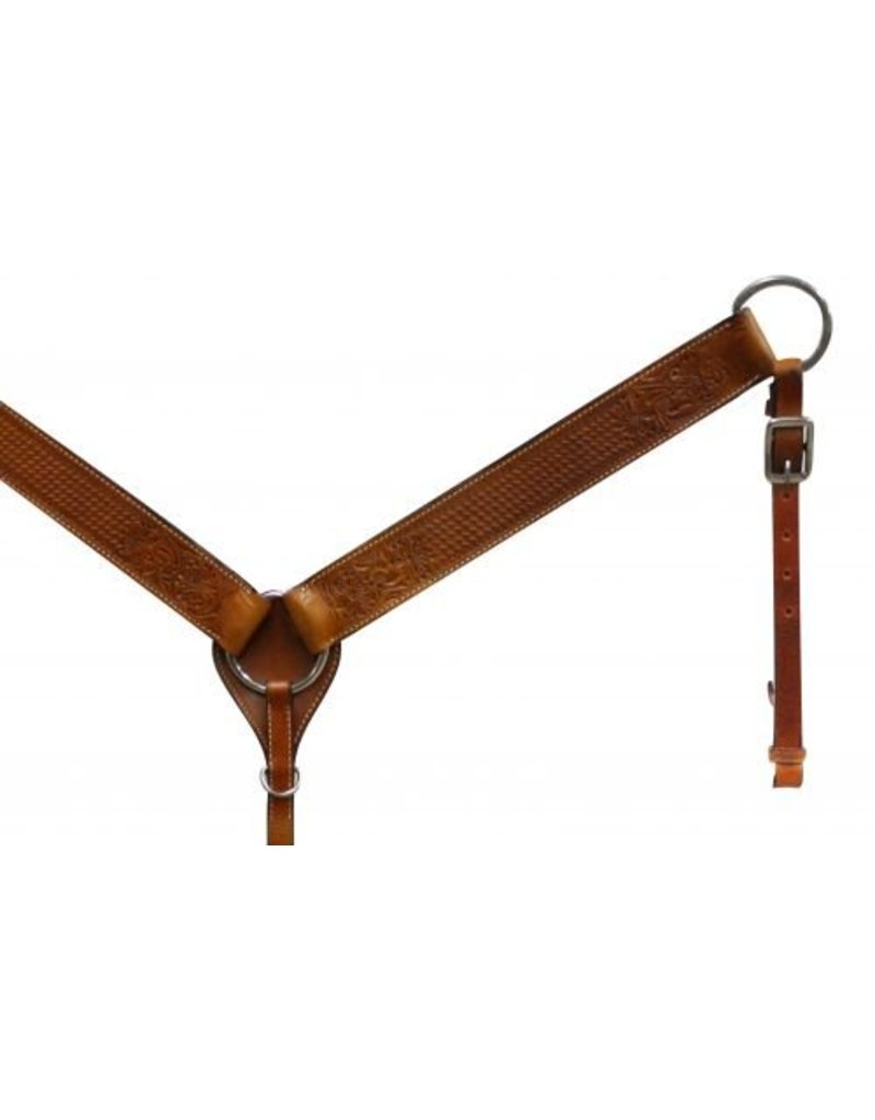 Leather breastcollar has floral and basketweave tooling.