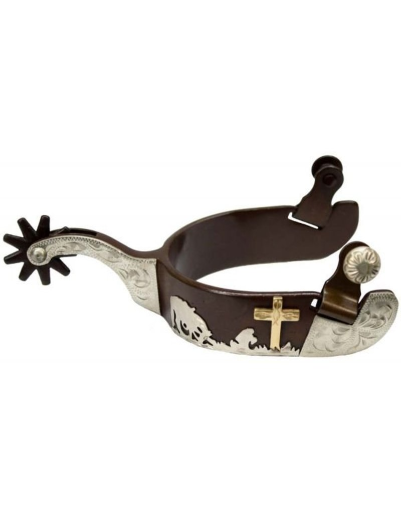 Showman ®  men's size brown steel silver show spur with praying cowboy design.