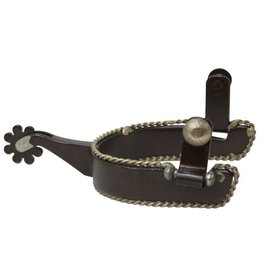 "Showman ® Men's brown steel spur with twisted border accent. 2"" shank, 1 "" band 3-1/4"" boot width."