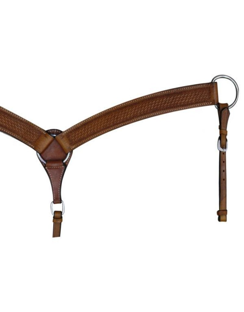 Showman ® Showman™ Double stitched leather breast collar with basketweave tooling.
