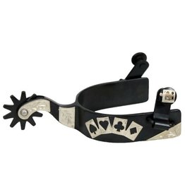 Showman ® men's size black steel silver show spur with silver 4 card design with cutouts.
