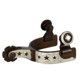 Showman ® toddler size antique brown steel silver show spur with cut out stars.
