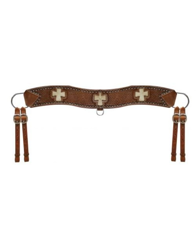 Showman ® Showman™ leather basketweave tooled tripping collar with silver studded beads.