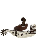 Showman ® youth size antique brown steel silver show spur with cut out star and dot overlay.