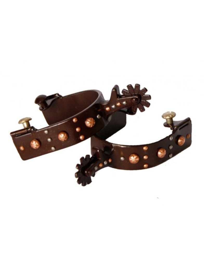 Showman ® brown steel spur with engraved copper studs and silver studs.