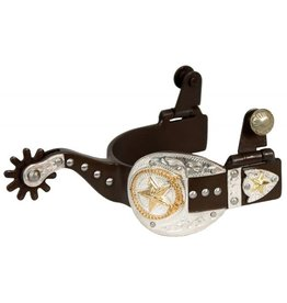 Showman ® ladie's size antique brown silver buckle tip and keeper spurs with gold star and lasso accent.