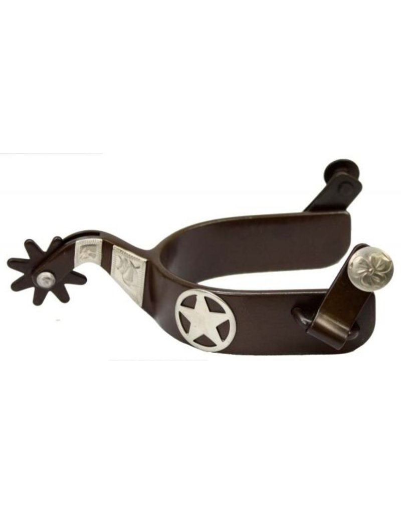 Showman ®  Brown Steel Silver Show Spur With Texas Star.
