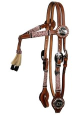 Showman ® Showman ® double stitched leather furturity knot rawhide braided headstall with horse hair tassell.