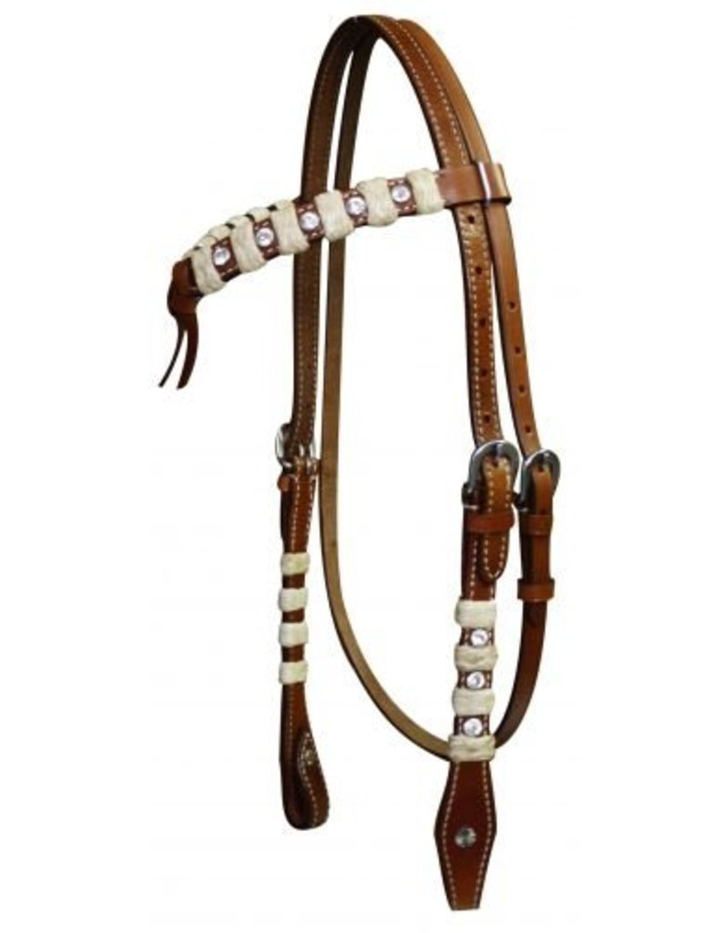 Showman ® Showman ® Double stitched leather futurity knot headstall accented with rawhide braiding and crystal rhinestones.