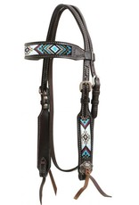 Showman ®   Showman ® Dark chocolate Argentina cow leather headstall with beaded inlays.