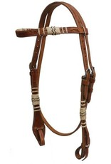 Showman ® Showman™  double stitched floral tooled rawhide braided browband headstall with quick change bit connectors and double cheek adjustment.
