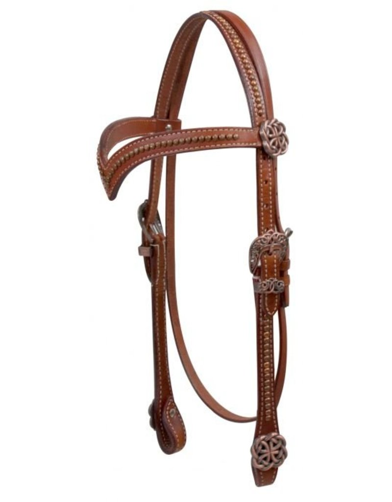 Showman ®  Showman ® V style browband headsall with celtic knot conchos and hardware.