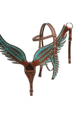 Showman ® Showman ® Teal angel wing headstall and breast collar set.