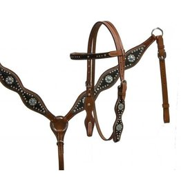 Showman ® Showman ® double stitched leather headstall and breast collar set with hair on cowhide