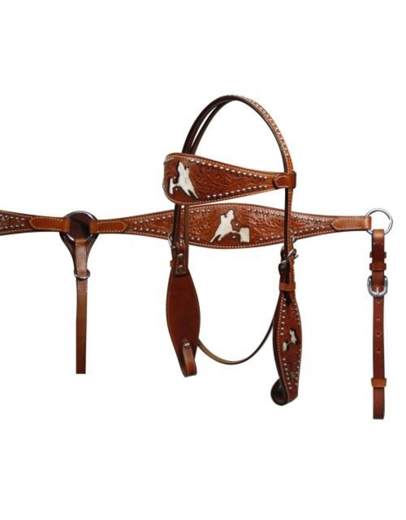 Showman ®  Showman ® Double Stitched Headstall and Breastcollar Set with Hair on Cowhide Barrel Racer Inlay