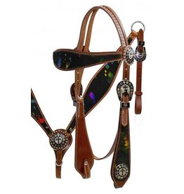 Showman ® Showman ® Double Stitched Leather Headstall and Breast Collar Set with Metallic Splash Hair on Cowhide.