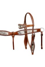 Showman ® Showman® double stitched leather headstall and breast collar set with hair on cowhide print.