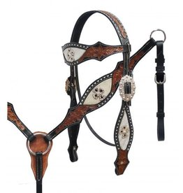 Showman ® Showman® hair on cowhide headstall and breast collar set.