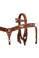 Showman ® Showman Leather double stitched tooled browband headstall, reins and tooled breastcollar set with  hair on cowhide inlay.