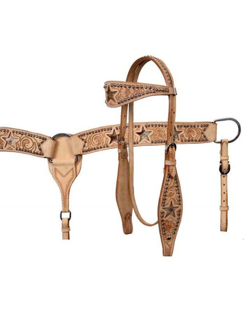 Showman ® Leather double stitched tooled browband headstall, reins and tooled breastcollar set with  hair on cowhide inlay.