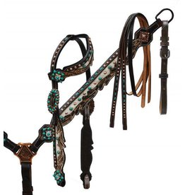 Showman ® Showman ® Hair on cowhide inlay headstall and breast collar.