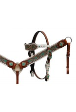 Showman ®   Showman ®  Hair on cowhide headstall and breast collar set with Aztec eagle design.
