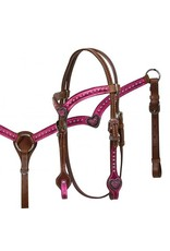 Showman ® Showman ® Pony size metallic pink headstall and breast collar set with pink crystal heart conchos