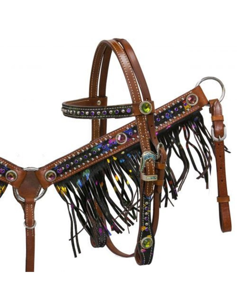 Showman ®    Showman ® Pony size metallic splash hair on cowhide fringe headstall and breast collar set.