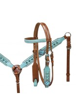 Showman ® Showman ® Pony size Turquoise leather overlay headstall and breast collar set with turquoise cyrstal rhinestones.