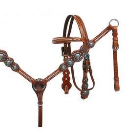 Showman ® Showman ® Pony Blue rhinestone headstall and breast collar set.