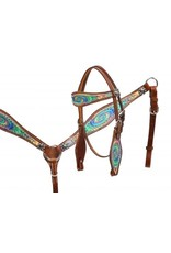 Showman ® Showman ® Pony size Psychedelic swirl headstall and breast collar set.