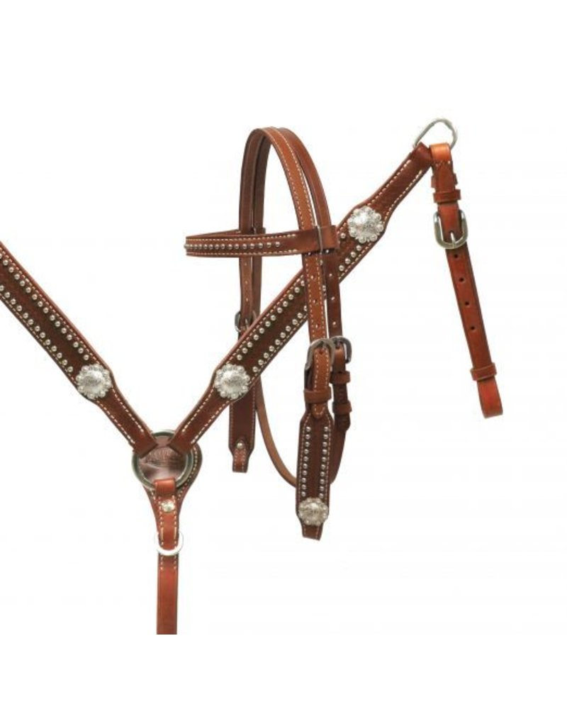 Showman ®  Showman ® PONY headstall and breast collar set with silver conchos.