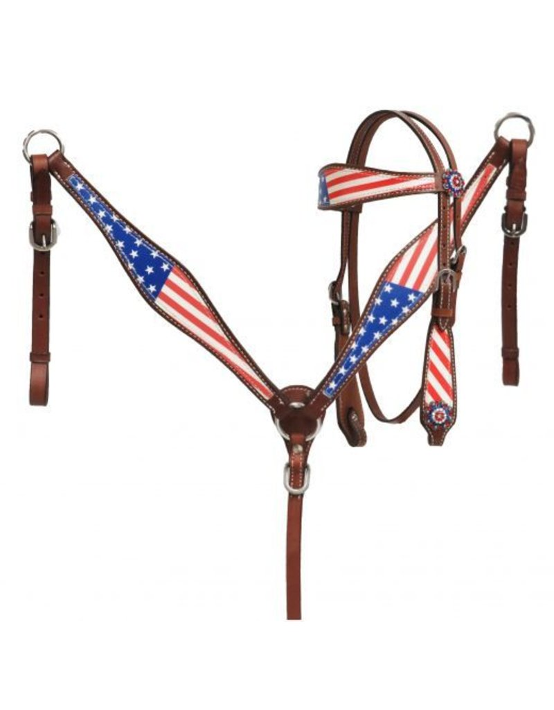 Showman ®  Showman ® Pony Size  American flag headstall and breast collar set.