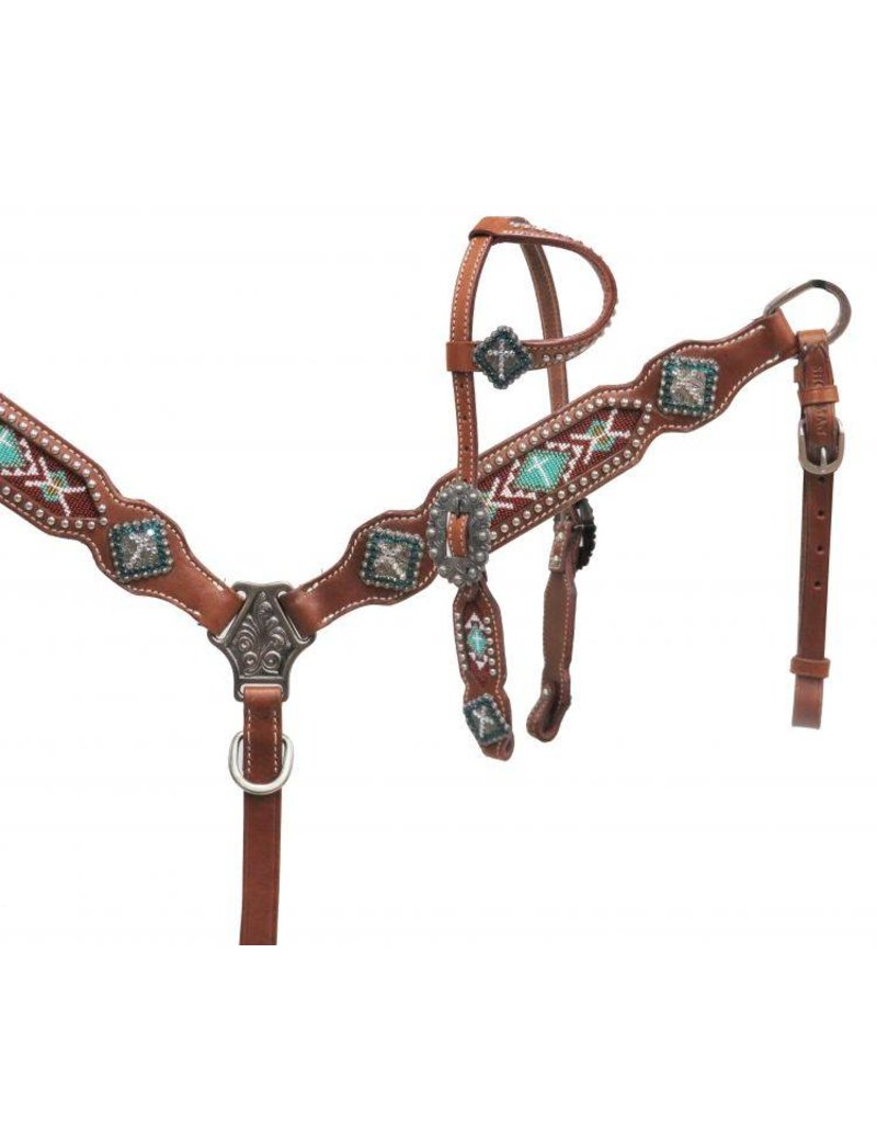 Showman ®  Showman ® PONY One ear headstall with teal beaded inlay.